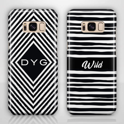 Black & White Patterns with Initial Samsung Galaxy S8 3D Custom Phone Case variants