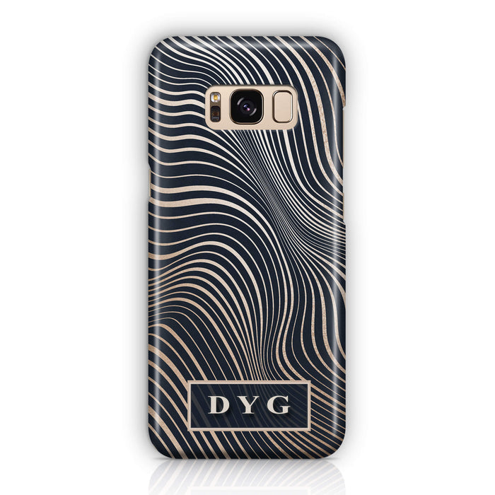 Glossy Waves With Initials - Samsung Galaxy 3D Phone Case design-your-gift.