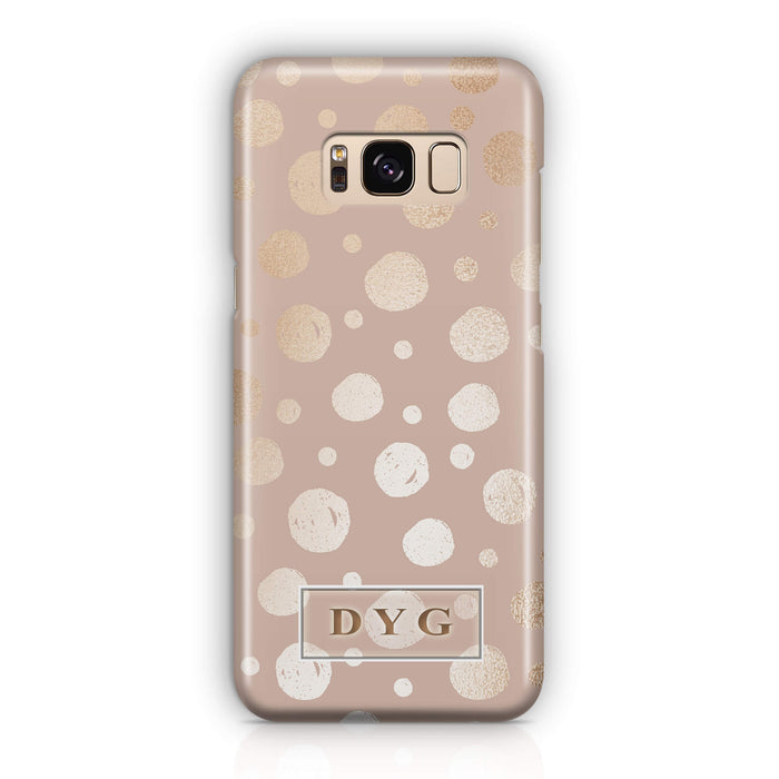 Glossy Dots With Initials - Galaxy S8 3D Custom Phone Case design-your-gift.