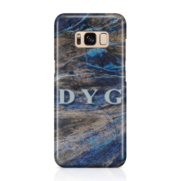 Dark Marble With Initials Samsung Galaxy S8 3D Custom Phone Case earthy blue