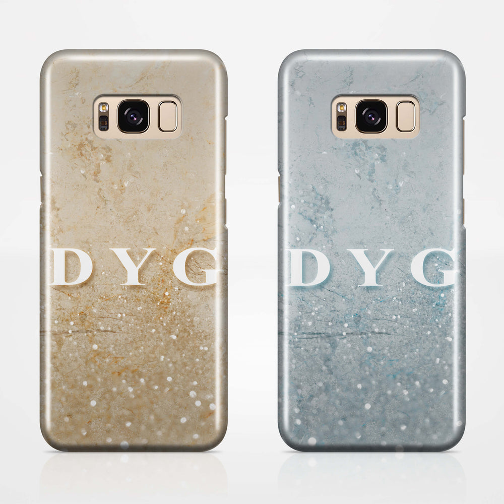 Glitter Marble With Initials - Galaxy S8 3D Custom Phone Case design-your-gift.