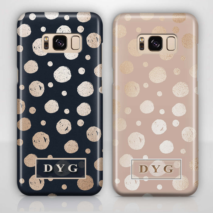 Glossy Dots With Initials - Galaxy 3D Custom Phone Case design-your-gift.