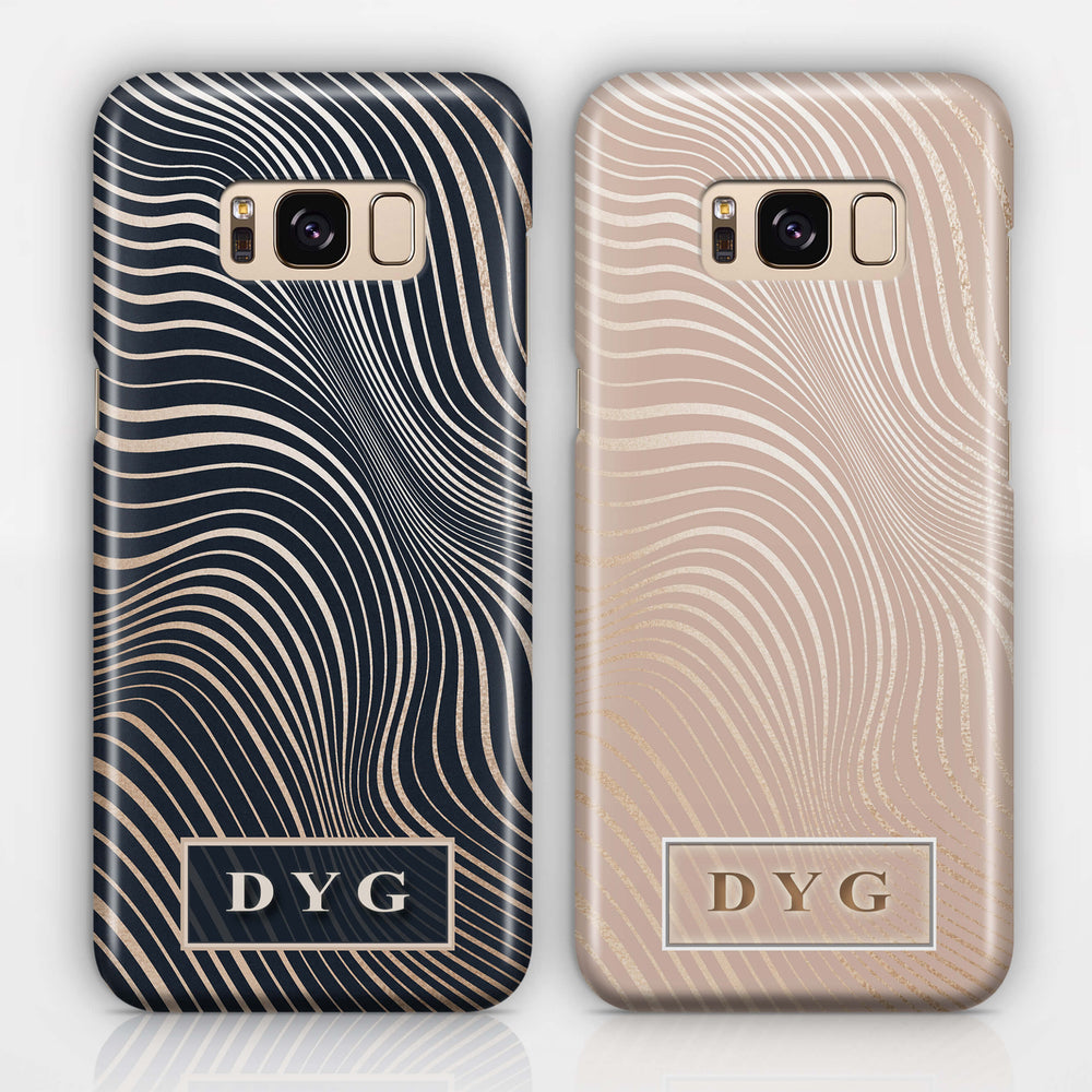 Glossy Waves With Initials - Galaxy S8 3D Custom Phone Case design-your-gift.
