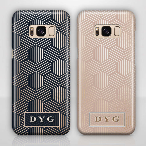 Glossy Geometric Pattern With Initials Samsung Galaxy S8 3D Phone Case variants