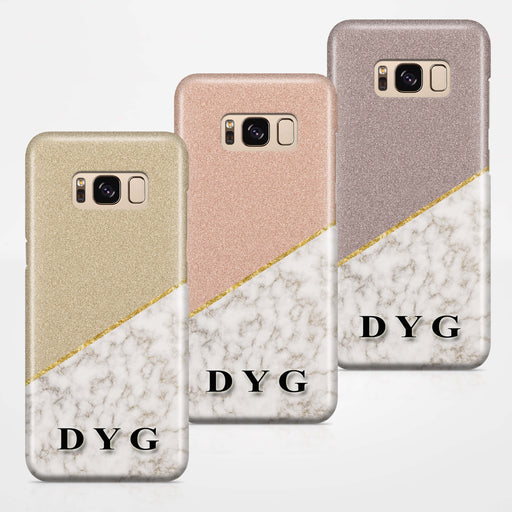 Gold Marble & Glitter With Initials Samsung Galaxy S8 3D Custom Phone Case Variants