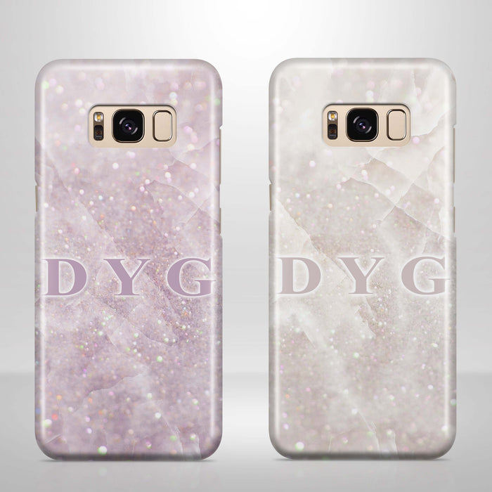 Luxury Glitter Marble With Initials - Galaxy S8 3D Custom Phone Case design-your-gift.