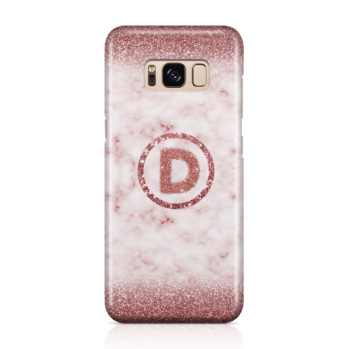 Marble & Glitter With Initial - Galaxy S8 3D Custom Phone Case design-your-gift.