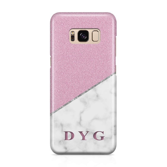 White marble & Glitter With Initial - Galaxy S8 3D Custom Phone Case design-your-gift.