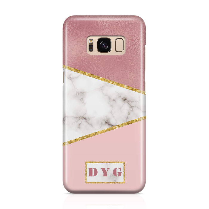 White & Rose marble With Initials - Galaxy 3D Custom Phone Case design-your-gift.