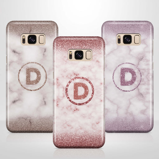 Marble & Glitter With Initial Samsung Galaxy S8 3D Custom Phone Case variants
