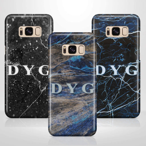 Dark Marble With Initials Samsung Galaxy S8 3D Custom Phone Case variants