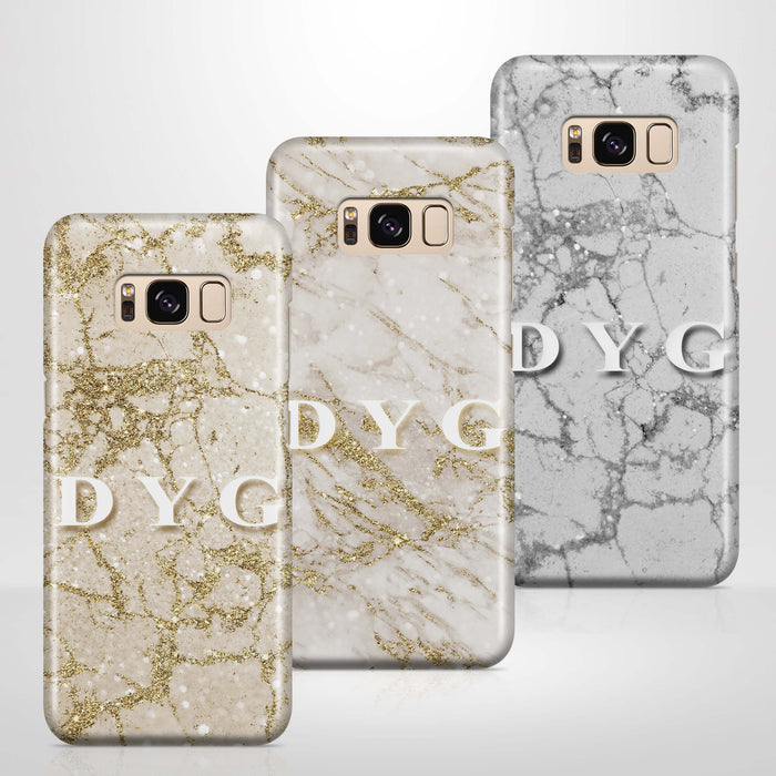 Pearl Marble With Initials - Galaxy 3D Custom Phone Case design-your-gift.