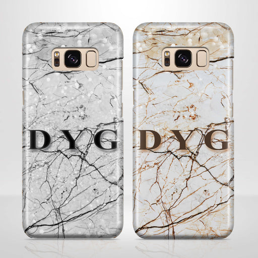 Marble Veins With Initials Samsung Galaxy S8 3D Personalised Phone Case variants