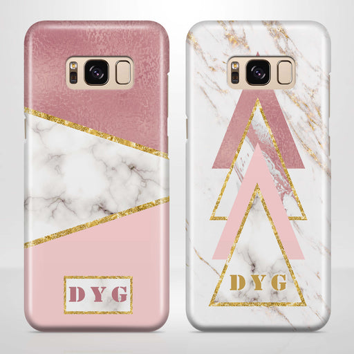 White & Rose marble With Initials Samsung Galaxy S8 3D Custom Phone Case variants