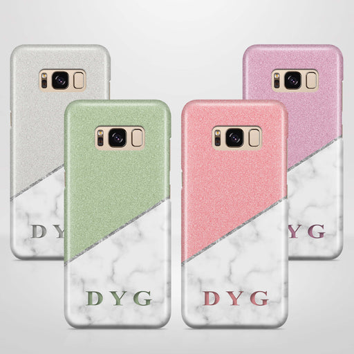 White marble & Glitter With Initial Samsung Galaxy S8 3D Custom Phone Case variants