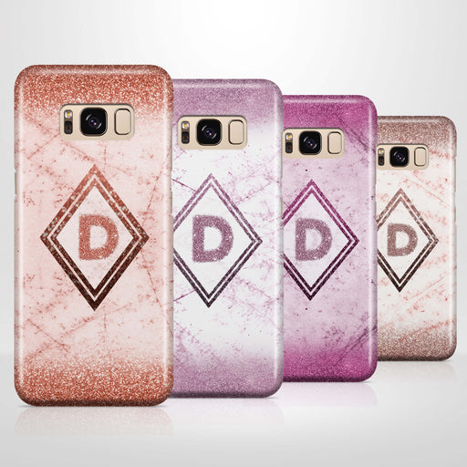 luxury Marble & Glitter With Initial Samsung Galaxy S8 3D Custom Phone Case 4 variants
