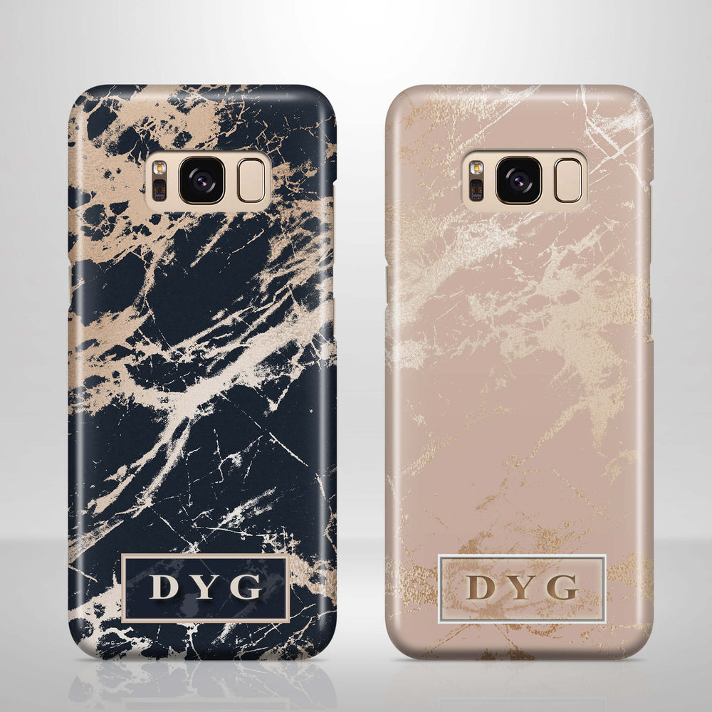 Luxury Gloss Marble With Initials - Samsung Galaxy 3D Phone Case design-your-gift.