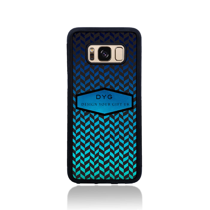 Geometric Hollow Design with Text - Galaxy Black Rubber Case design-your-gift.