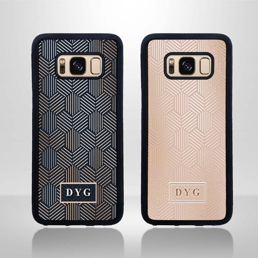 Glossy Geometric Pattern and Initials - Galaxy Black Rubber Case design-your-gift.