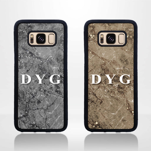 Sparkle Marble with Initials - Galaxy Black Rubber Case design-your-gift.