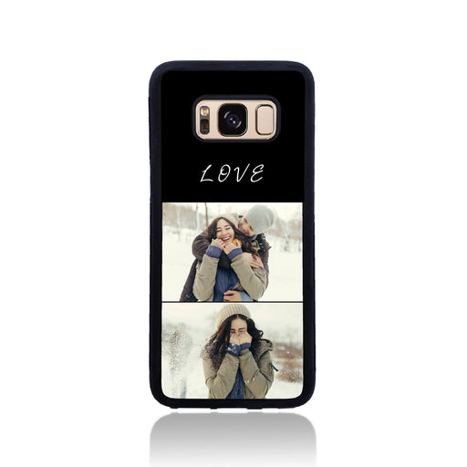 2 Photo Collage - Galaxy Black Rubber Phone Case design-your-gift.