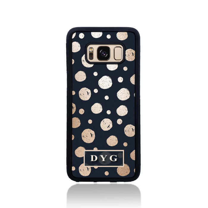 Galaxy S8 Black Rubber Phone Case | Glossy Dots with Initial - black background with glossy rose dots design