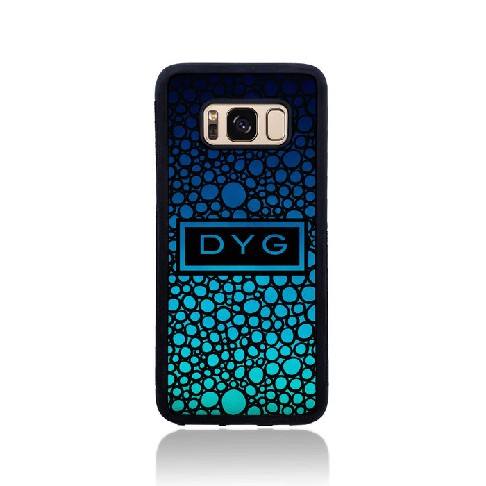 Bubble Hollow Design & Initials - Galaxy Black Rubber Phone Case design-your-gift.