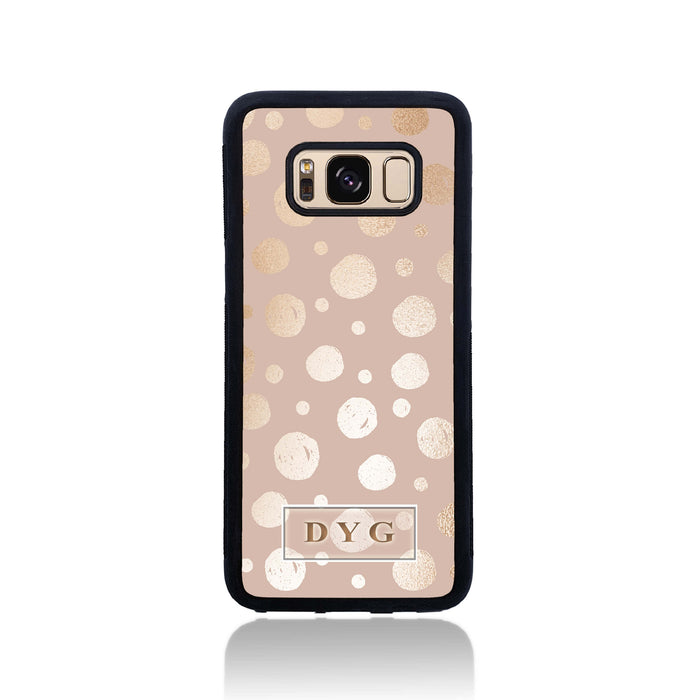 Galaxy S8 Black Rubber Phone Case | Glossy Dots with Initial - champagne background with glossy rose dots design