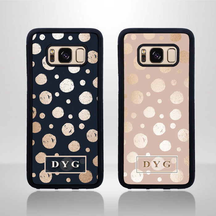 Galaxy S8 Black Rubber Phone Case | Glossy Dots with Initial