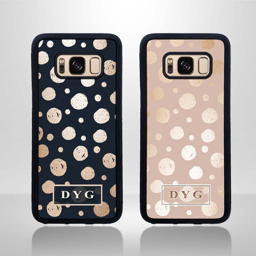 Glossy Dots with Initials - Galaxy Black Rubber Phone Case design-your-gift.