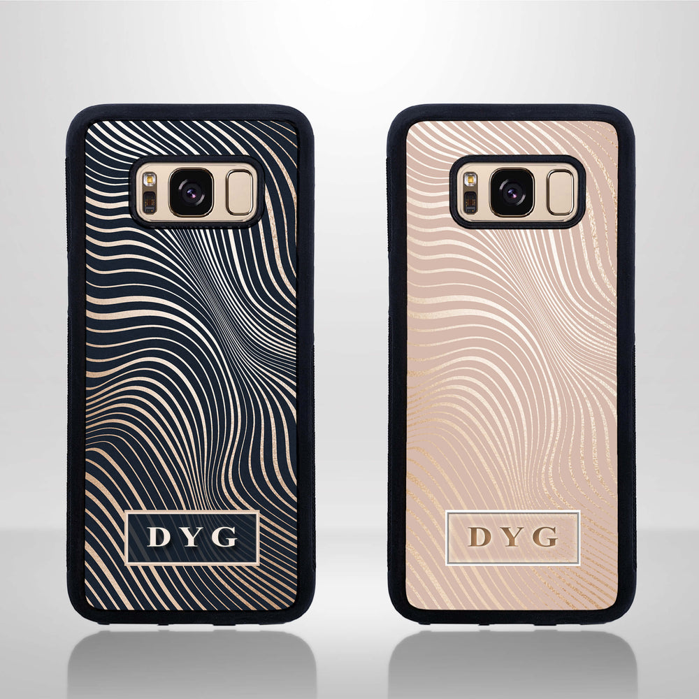 Glossy Waves with Initials - Galaxy Black Rubber Phone Case design-your-gift.