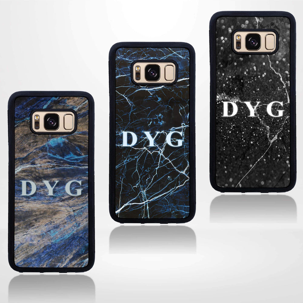 Dark Marble with Initials - Galaxy Black Rubber Phone Case design-your-gift.