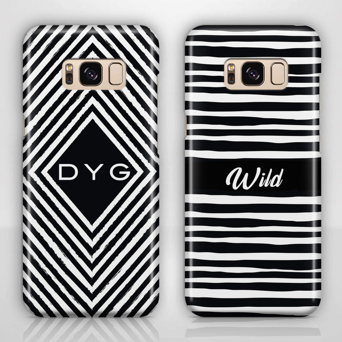 Black & White Patterns with Initial - Galaxy S8 Plus 3D Custom Case design-your-gift.