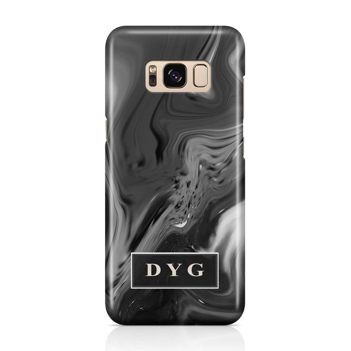 Liquid Marble With Initials Samsung Galaxy S8+ 3D Personalised Phone Case black