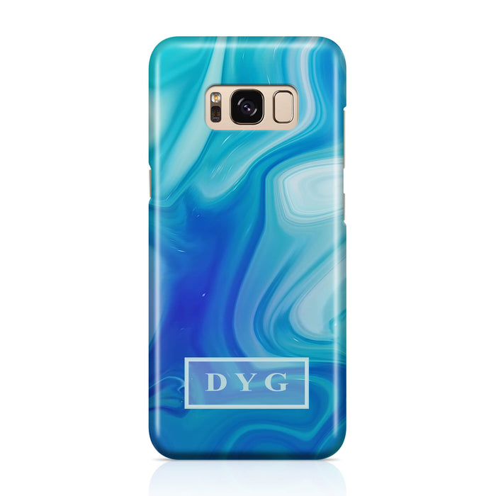 Liquid Marble With Initials Samsung Galaxy S8+ 3D Personalised Phone Case blue