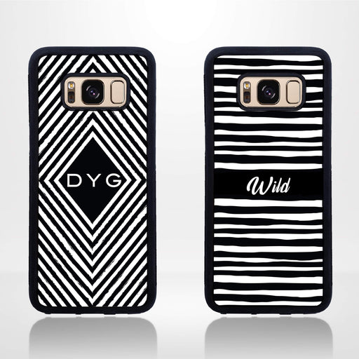 Black & White Pattern with Initial - Galaxy Black Rubber Phone Case design-your-gift.