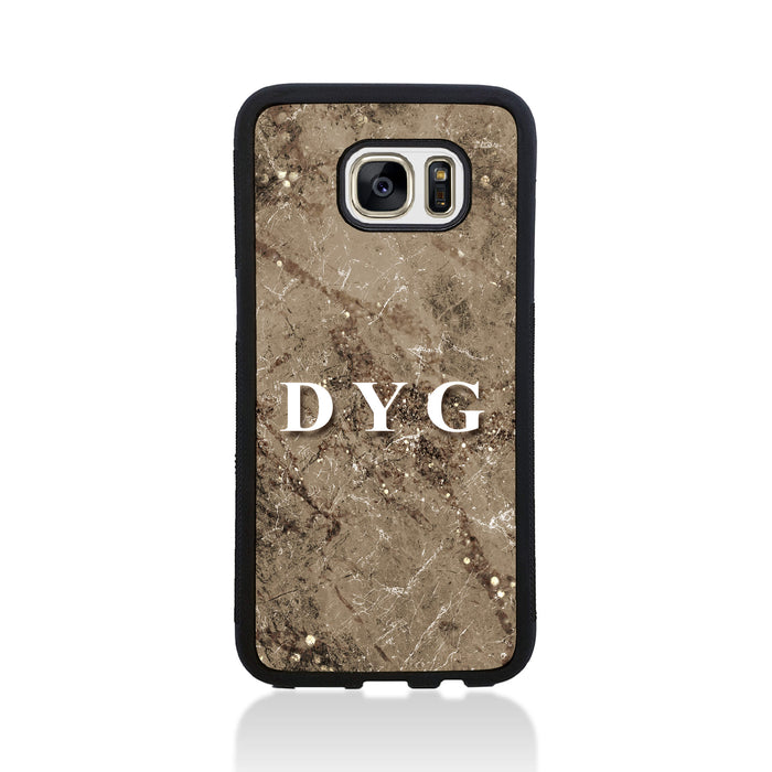 Sparkle Marble with Initials - Galaxy S7 Edge Black Rubber Case design-your-gift.