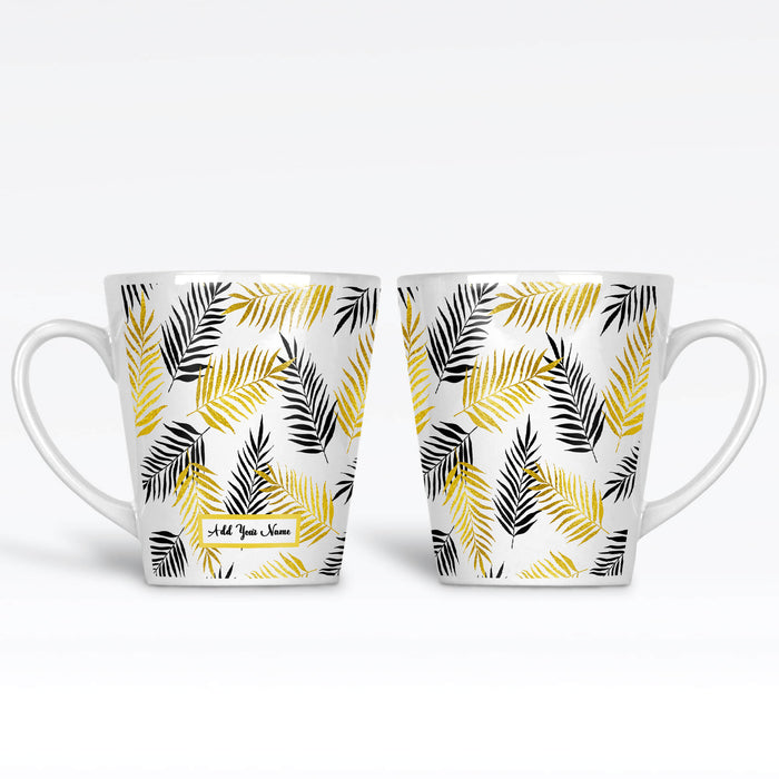 Personalised name 12oz latte Mug with tropical forest leaves in Gold and Black colours