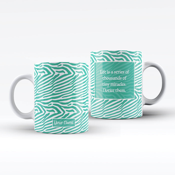 White Mug with green Zebra Design personalised with name on the front and a text message on the back