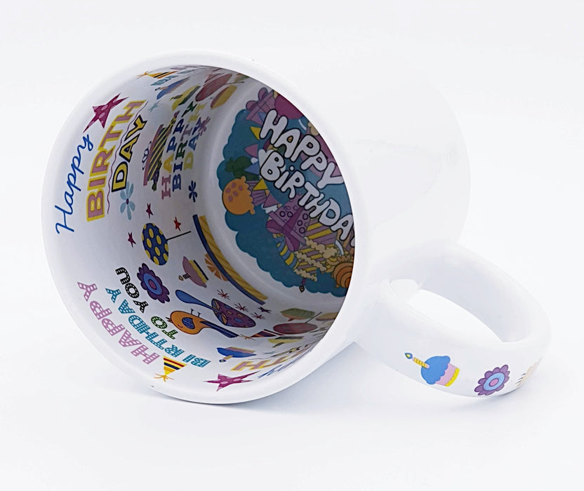 White Mug with hidden inner message with happy birthday text and clip arts in different colours