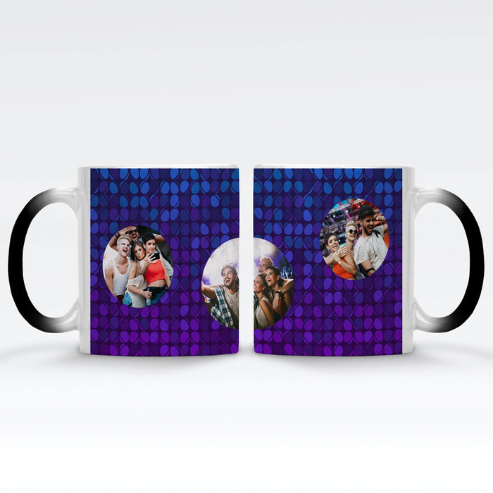 Personalised Black Magic Mug printed with 3 photos on colourful party lights background Vol2
