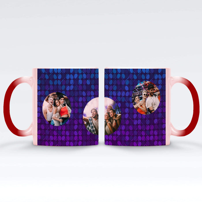 Personalised red Magic Mug printed with 3 photos on colourful party lights background Vol2