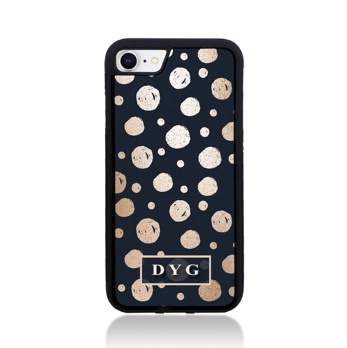 iPhone 7 Black Rubber Phone Case | Glossy Dots with Initials - black background with glossy rose dots