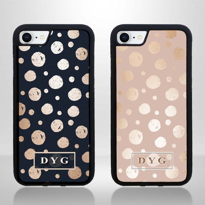 iPhone 7 Black Rubber Phone Case | Glossy Dots with Initials