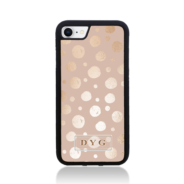 iPhone 8 Black Rubber Phone Case | Glossy Dots with Initials - champagne background with glossy rose dots