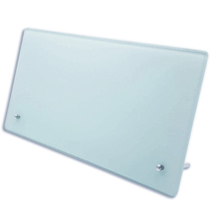 blank Landscape frosted glass photo block with 2 metal legs