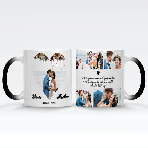 Personalised Black Magic Mugs printed with Mark the date photo collage, names and text design wrapped around the mug