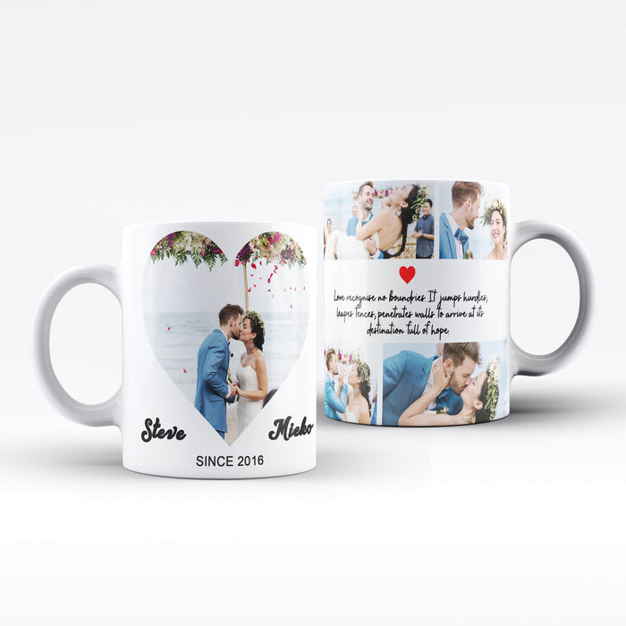 Personalised white Mugs printed with Mark the date photo collage, names and text design wrapped around the mug