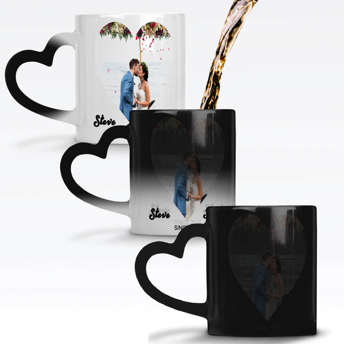 Personalised black magic mug with heart handle reveals the design when it gets hot