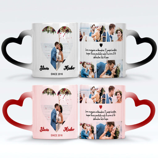 personalised black and red magic mugs with heart handles set printed with 5 wedding photos couple names date and text